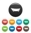 retro bathtube icons set color vector image vector image