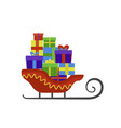 santa claus sleigh icon flat style vector image vector image