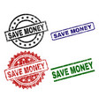 scratched textured save money seal stamps vector image vector image