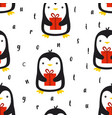 seamless pattern with cute penguin vector image vector image