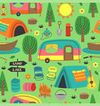 seamless pattern with summer camping elements vector image vector image