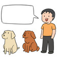 set man and dog vector image vector image