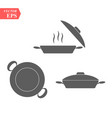 set of pan icon simple filled pan icon on white vector image