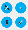 set of simple airplane icons vector image