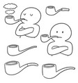 set of smoking pipe vector image