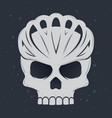 skull wearing bicycle helmet vector image