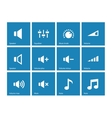 Speaker icons on blue background Volume control vector image vector image