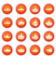 submarine icons set red vector image vector image