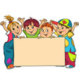 the group of children holds the large clean sheet vector image vector image