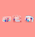 tiny characters looking traveling pictures in huge vector image vector image