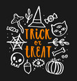 trick or treat hand drawn lettering vector image vector image