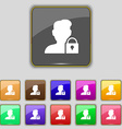 user is blocked icon sign Set with eleven colored vector image vector image