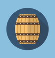 Wooden barrel flat icon vector image vector image