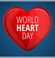 world red heart day concept banner cartoon style vector image vector image
