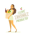 young girl in green dress with paper food vector image vector image