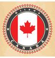 Vintage label cards of Canada flag vector image