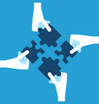 white hands holding puzzles vector image