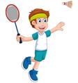 funny boy cartoon playing badminton vector image