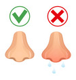 runny nose flat style icon healthy nose and colds vector image