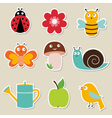 summer garden stickers set vector image