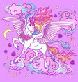 a beautiful unicorn with a long mane on a purple vector image vector image