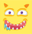 a yellow monster face vector image