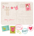 baby shower card with set of stamps vector image