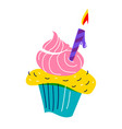 birthday party cupcake cake decorated sweet cream vector image