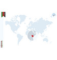 blue world map with magnifying on kenya vector image vector image
