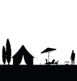 camping in nature couple silhouette vector image vector image