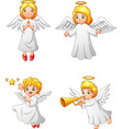 cartoon angels collection set vector image