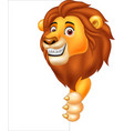 cartoon lion holding blank sign vector image