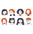 childhood friendship portrait set concept vector image