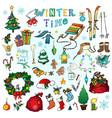 christmas time hand drawn icons vector image