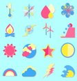 Climate color icons with shadow vector image
