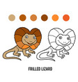 coloring book frilled lizard vector image vector image