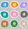 Crosswalk icon symbols Multicolored paper stickers