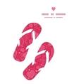 doodle hearts flip flops silhouettes pattern frame vector image vector image