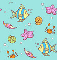 doodle marine pattern with fish vector image