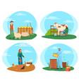 farming people woman feeding chicken hens set vector image vector image
