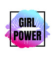 female neon lips with girl power inscription vector image vector image
