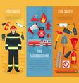 firefighting banners set fireman tools vector image vector image