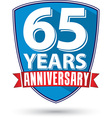 Flat design 65 years anniversary label with red vector image vector image