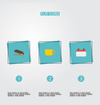 flat icons tea date puncher and other vector image vector image
