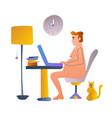 freelancer working at table remote work job desk vector image