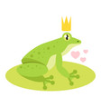 frog with golden crown vector image