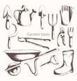 gardening tools hand drawing set vector image