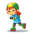 girl excersicing with her rollerblades vector image vector image