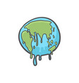 global warming earth globe melting hand drawn vector image vector image