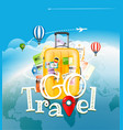 go travel concept travel bag and different vector image vector image